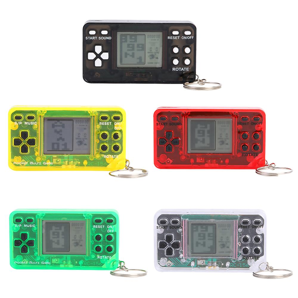 Mini Portable Game Console Handheld Classic Retro Games Nostalgic Keychain Tetris Video Game Machine Gamepad Kids Children Gifts