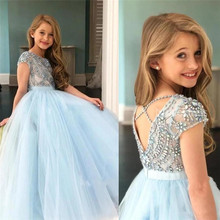Girls Dress Flower Long-Sleeves Kids Children's Lace Wedding-Party for 2-14 Vestidos