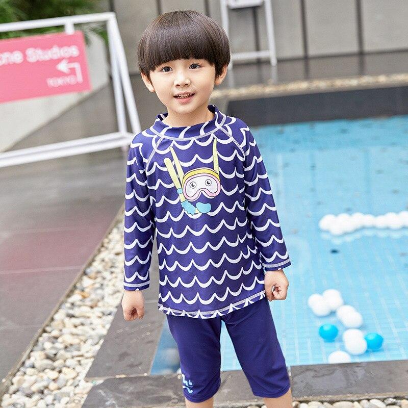 KID'S Swimwear Boys' Cropped Pants Boxer Big Boy Split Type Long-sleeve Zipper Sun-resistant Baby Swim Bathing Suit Hot Springs