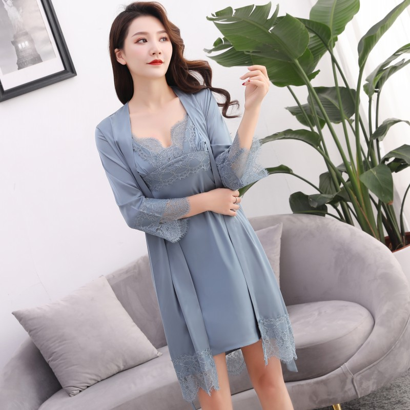 2pcs Women's Sleep Lounge Robe Gown Sets Sleepwear Womens Sleep Set Femme Lingerie Set Nightwear Lace Homewear