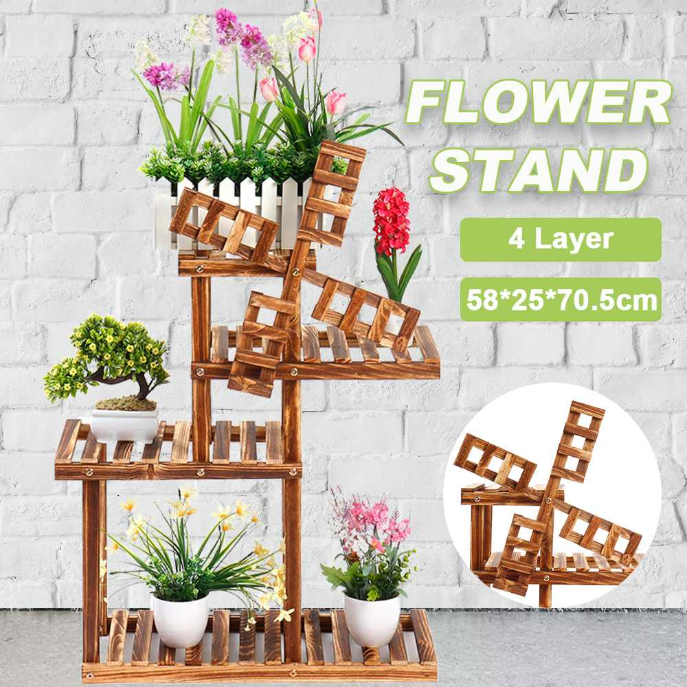 Support de fleurs en bois Pots de plantes support Multi étagères de support de fleurs bonsaï présentoir de jardin extérieur intérieur
