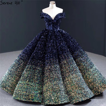 Serene Hill Off Shoulder Contrast Color Blue Gold Wedding Dress 2020 Sequins Sweetheart Luxury Bridal Gown Custom Made CHA2305