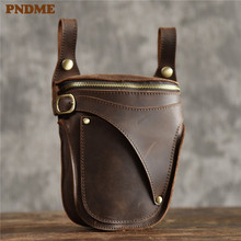 PNDME genuine leather mens waist packs vintage motorcycle belt bag multifunctional crazy horse cowhide daily small shoulder bag