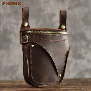 Image 1 - PNDME 정품 가죽 남성 허리 팩 빈티지 오토바이 벨트 가방 다기능 미친 말 소 가죽 매일 작은 어깨 가방