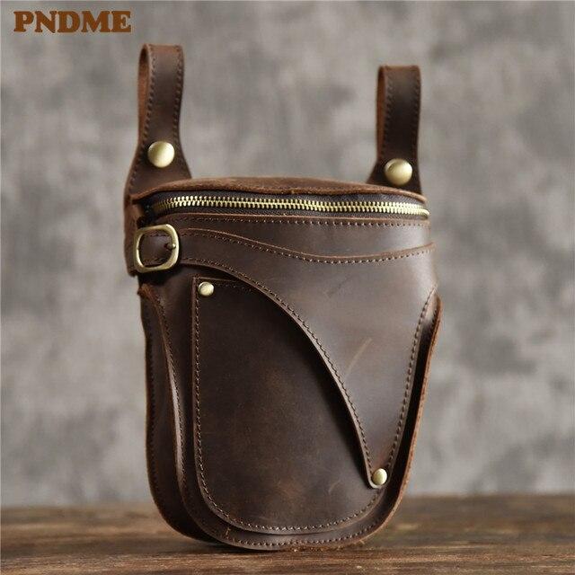 PNDME 정품 가죽 남성 허리 팩 빈티지 오토바이 벨트 가방 다기능 미친 말 소 가죽 매일 작은 어깨 가방