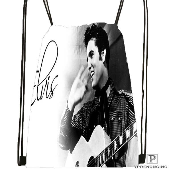 Custom Elvis Presley  Drawstring Backpack Bag Cute Daypack Kids Satchel (Black Back) 31x40cm#180612-02-17
