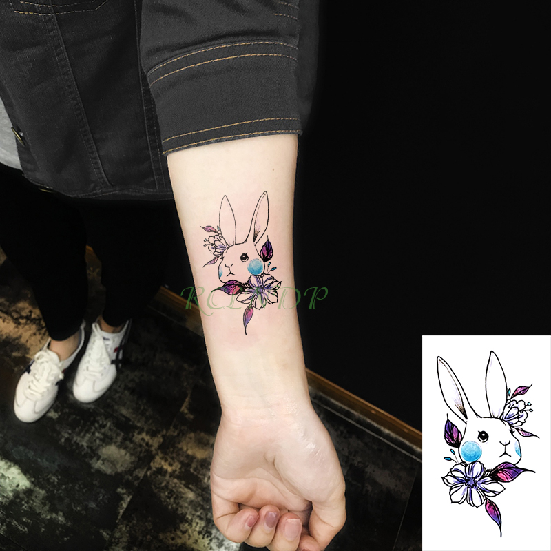 Waterproof Temporary Tattoo Sticker cute rabbit small size art tatto flash tatoo fake tattoos for kid women men girl