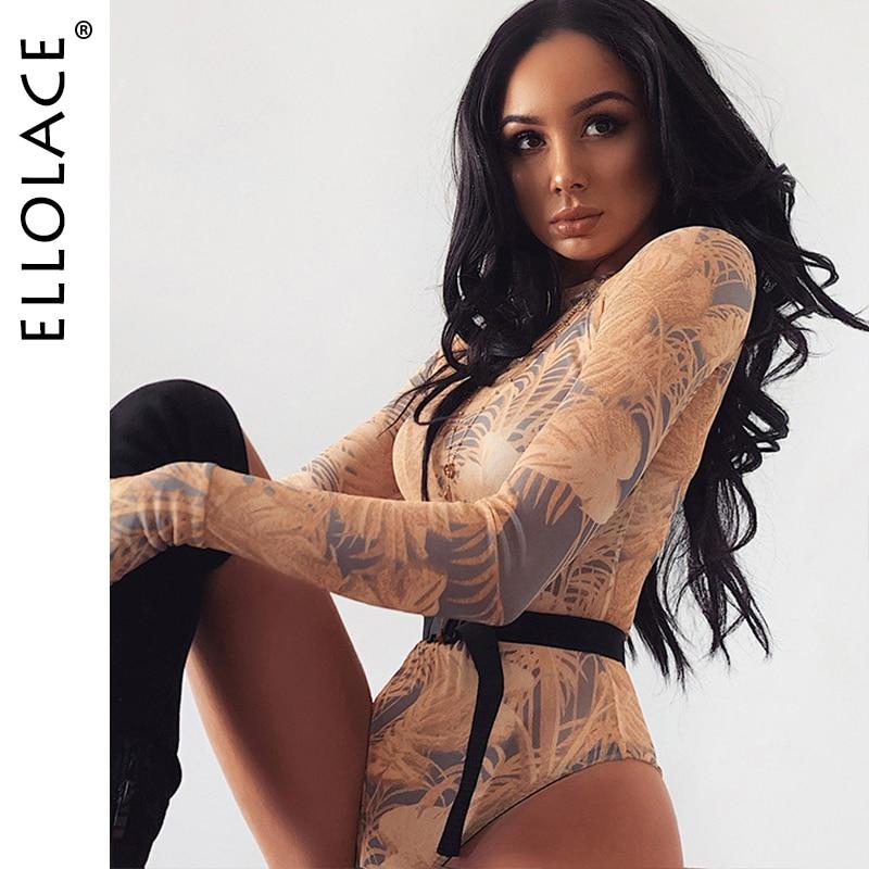 Ellolace Print Mesh Bodysuit Women Long Sleeve Body Fitness Female Overalls Short Jumpsuit Ladies Rompers 2020 New Basic Bodys