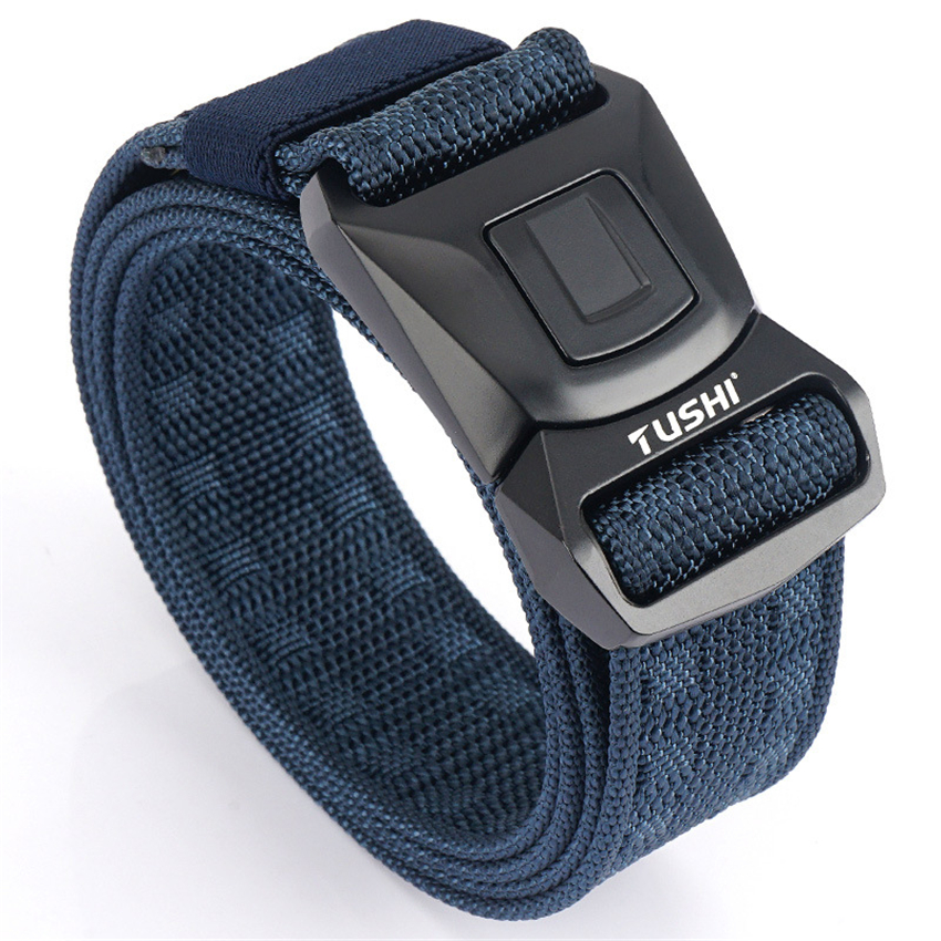 Nylon Belts For Men Metal Pluggable Buckle Durable Training Black Canvas Army Belt Non-Slip Hunting Fishing Sports Accessories