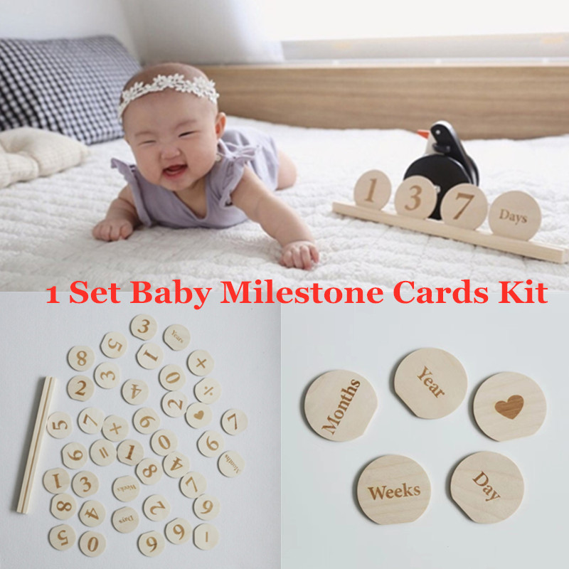 1set Wooden Baby Monthly Milestone Photo Cards Early Learning Multiplication Wood Chips Toys Newborn Photography Props