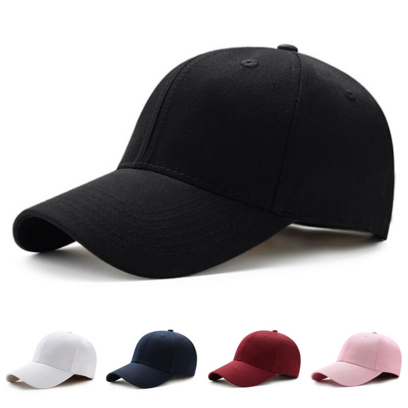 Men Women Plain Curved Sun Visor Baseball Cap Hat Solid Color Fashion Adjustable Caps