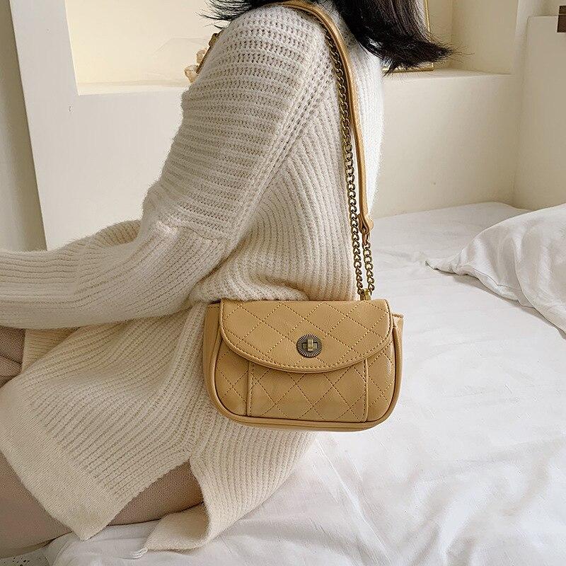 Simple New Arrival Bag Women's 2019 New Style Fashion Simple Messenger Bag liu xing shao nv Rhombus Chain Bag