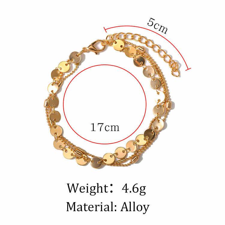 โลหะผสมโบฮีเมีย Multi-layer สร้อยข้อมือลูกปัด 3 ชิ้นชุดเครื่องประดับสร้อยข้อมือผู้หญิงห่วงโซ่ Anklets เสื้อผ้าอุปกรณ์เสริม