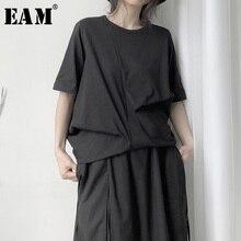 [Eam] Vrouwen Zwart Asymmetrische Plisse Big Size T shirt Nieuwe Ronde Hals Half Mouw Mode Tij Lente Herfst 2020 19A a657