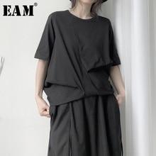 [Eam] 女性黒非対称プリーツビッグサイズtシャツ新ラウンドネック半袖ファッションタイド春秋2020 19A a657