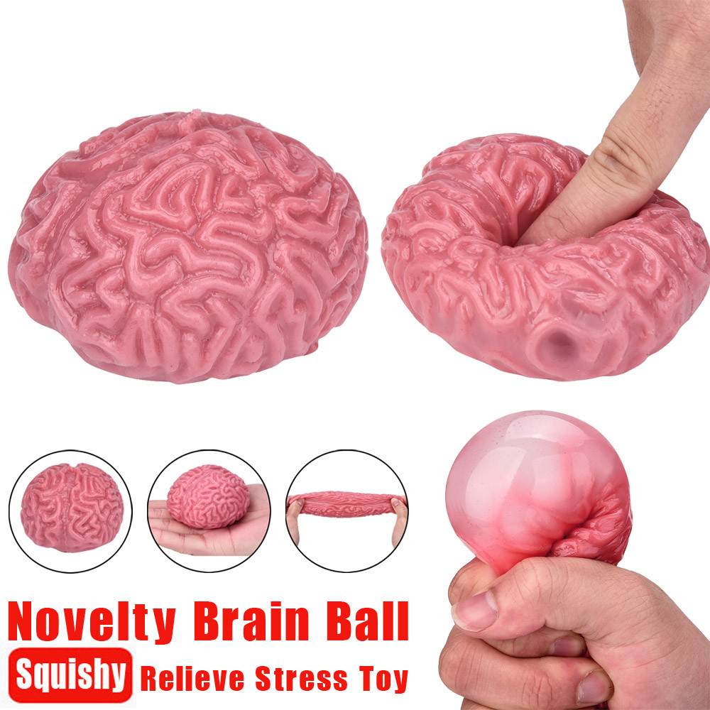 Novelty Squishy Brain Toy  Squeezable Fun Toys Relieve Stress Ball Cure Toy Rising Abreact Stress Relief Funny Gift Toy For Kids