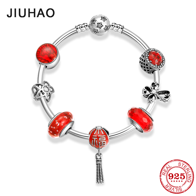 Hot 925 Sterling Silver Festive red luck Pendants Pink red Glass Bracelets Bead Bracelets diy for fashion jewelry womens Gift