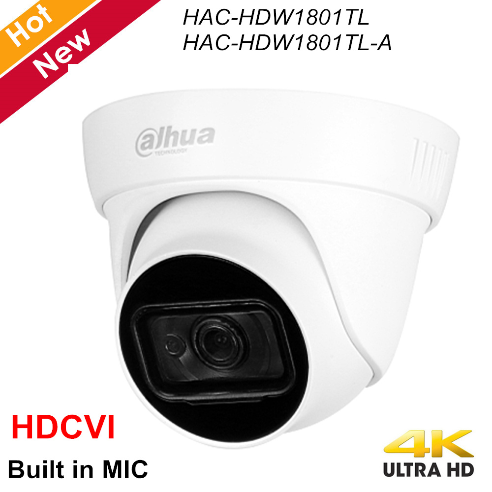 Dahua Lite Plus Series 4K HDCVI Camera HAC-HDW1801TL HAC-HDW1801TL-A Built In MIC Waterproof IP67 2.8mm 3.6mm Coaxial Camera