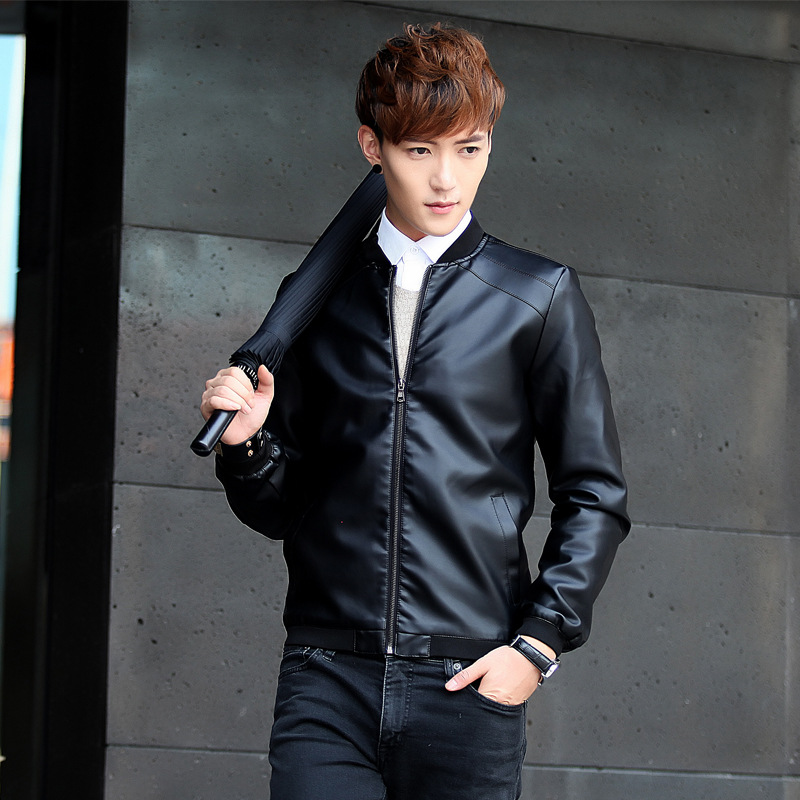 Spring And Autumn Men Stand Collar Leather Coat Men's Korean-style Slim Fit Leather Jacket PU Leather Youth Plus Velvet Jacket F