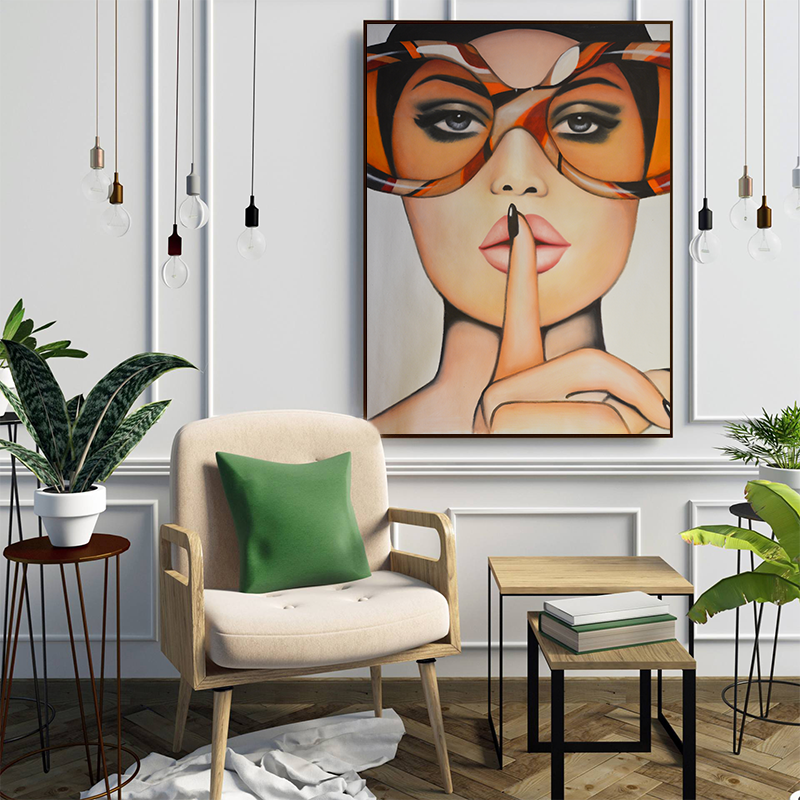 Sexy Red Lips With Big Glasses Canvas Painting – Poster Only. No Frame (Copy)