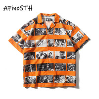 AFineSTH European and American High Street Shirt Digital Photo Printed Male And Female Personality Turn down Collar Summer Shirt