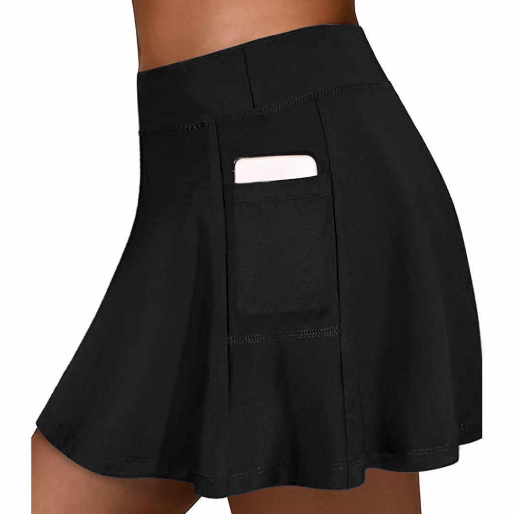 ajustada hockey falda de tenis 3//4 Balancora Falda de deporte para mujer pantalones de yoga con bolsillos y conexi/ón para auriculares