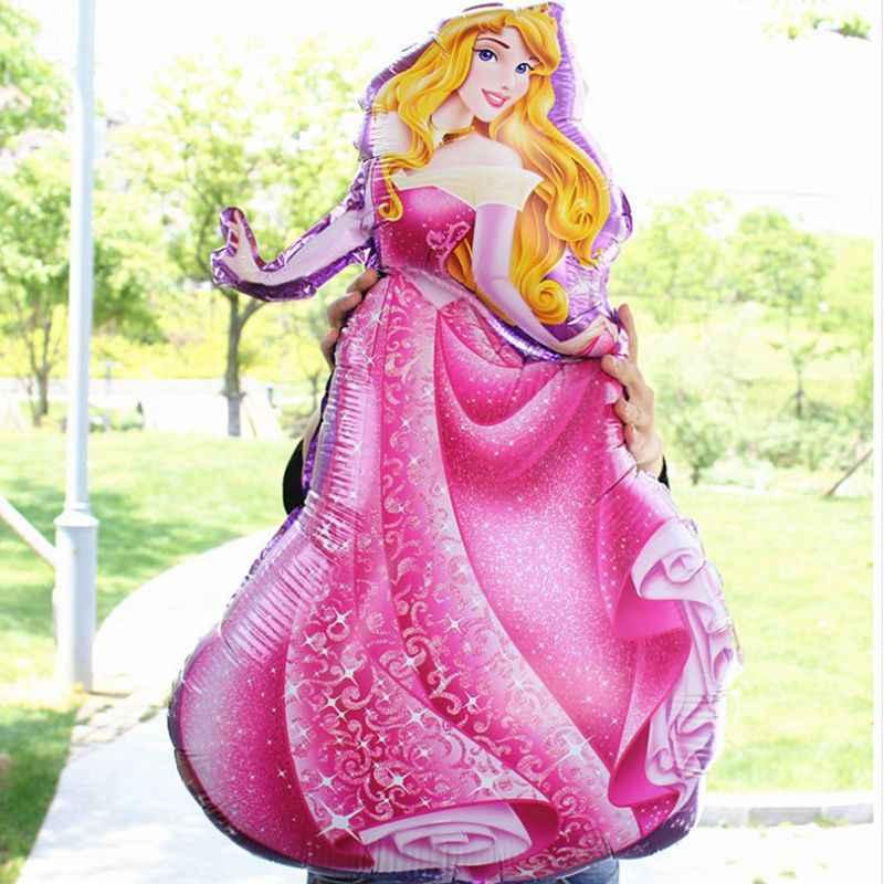 93*55cm büyük Belle Aurora külkedisi kar beyaz Elsa beş prenses folyo balonlar bebek doğum günü partisi dekorasyon helyum balonları