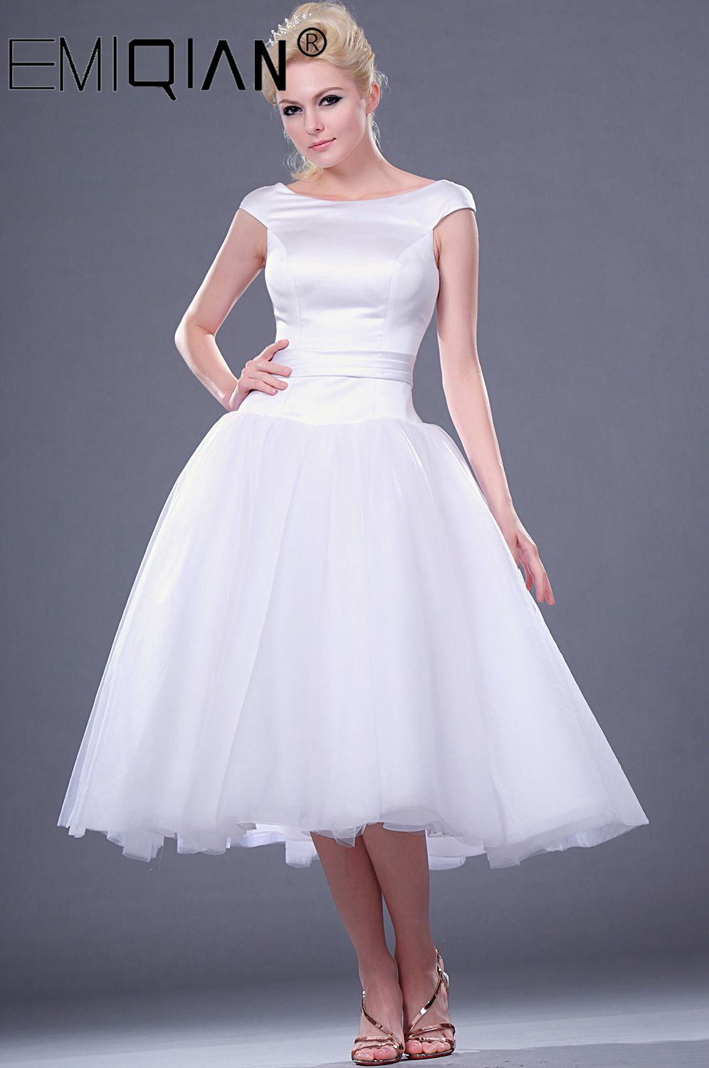 Classical O Neck Cap Sleeve Vintage 1950s Knee Length White/Ivory Short Wedding Dress Custom Made Puffy Tulle Bridal Gown
