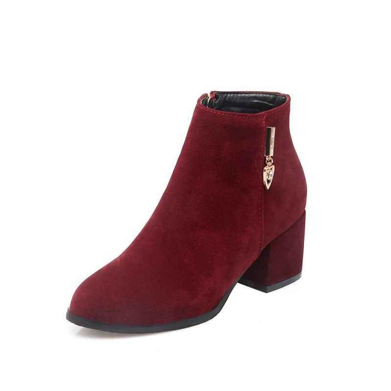 Plus rozmiar 32-45 kobiet zimowe jesienne botki sztuczny zamsz blok Chunky Heel dziewczyny buty eleganckie piękne Botas Mujer obuwie