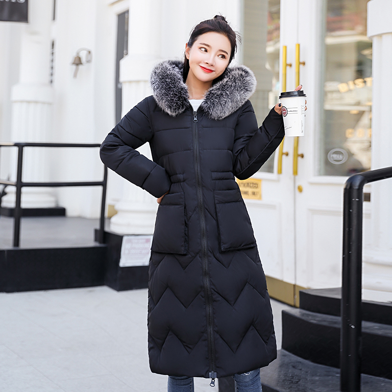 2019 Women Winter Coat Female Both Sides Can Be Worn Jacket Long Parka Hooded Fur Collar Padded Thick Slim Jackets 2