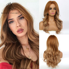 Blonde Unicorn Ombre Brown Golden Honey Wigs Long Wavy Middle Part