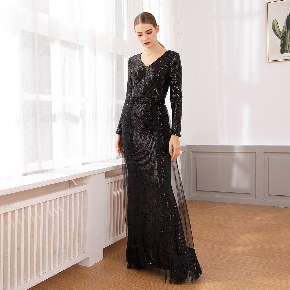 Vestido de fiesta de noche elegante con lentejuelas y borla Maxi vestido con escote en V-in Vestidos from Ropa de mujer    3