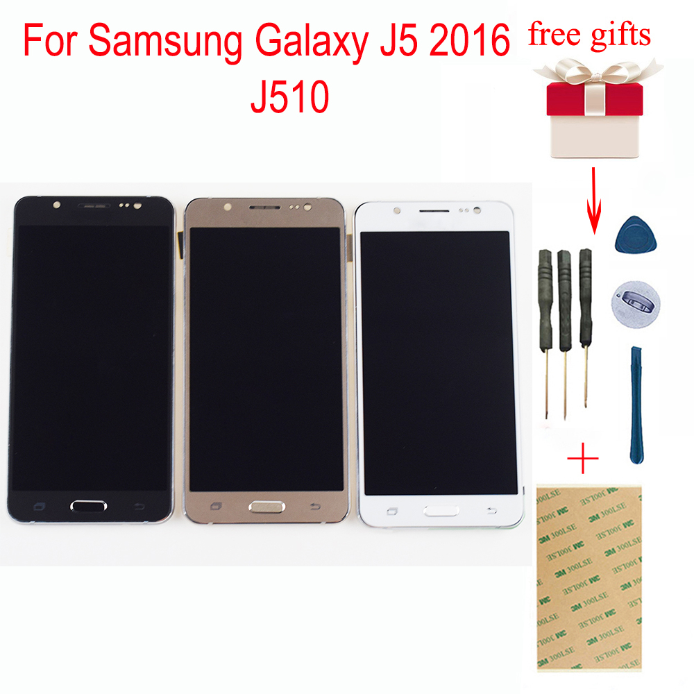 Para Samsung Galaxy J5 2016 LCD SM-J510F J510G J510Y J510M J510 J510FN LCD Screen Display Toque Digitador Assembléia Com Frame