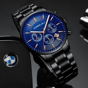 Image 4 - CRRJU New Fashion Men Watch Classic Business Multifunction Chronograph Quartz Wristwatch Casual Waterproof Stainless Steel Clock