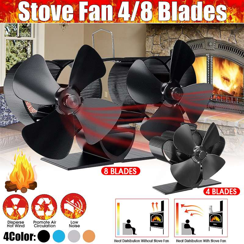 Single Dual Head Fireplace 4/8 Blade Heat Powered Stove Fan Komin Log Wood Burner Eco Silent Fan Home Efficient Heat Distribute