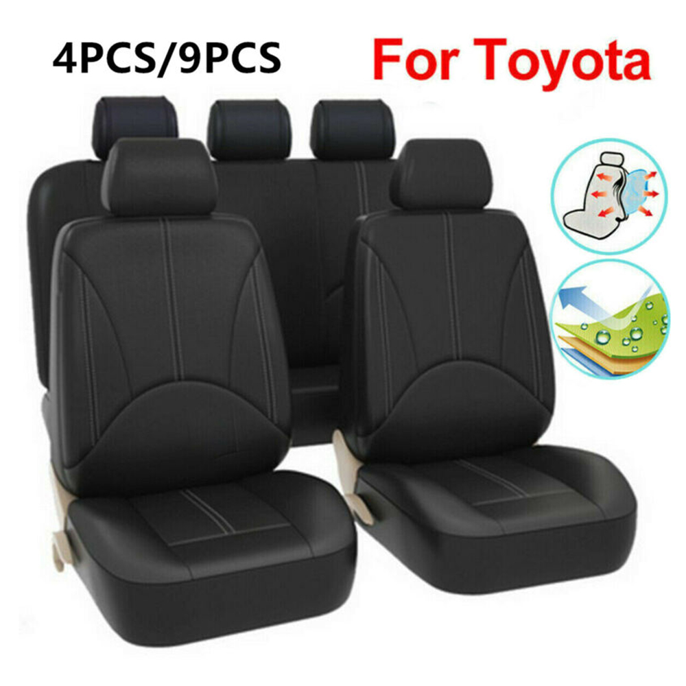 4 Or 9pcs/Set Good Quality PU Leather Car Seat Covers Classic Black For Toyota RAV4 4runner Venza Replacement