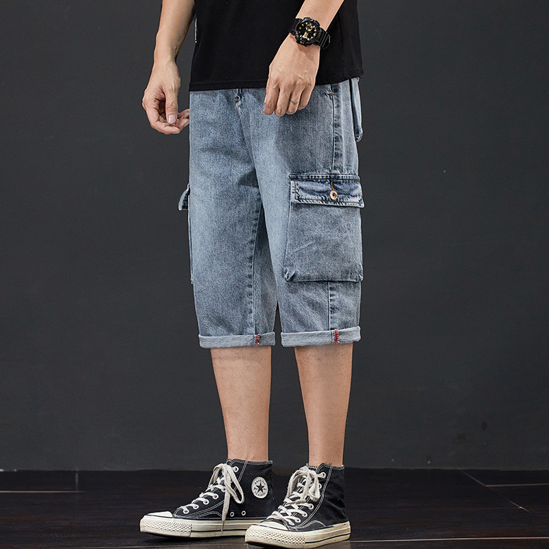 Jeans Shorts Men's Summer Breeches 2020 Multi Side Pocket Casual Bermuda Male Straight Long Blue Denim Loose Cargo Shorts Men