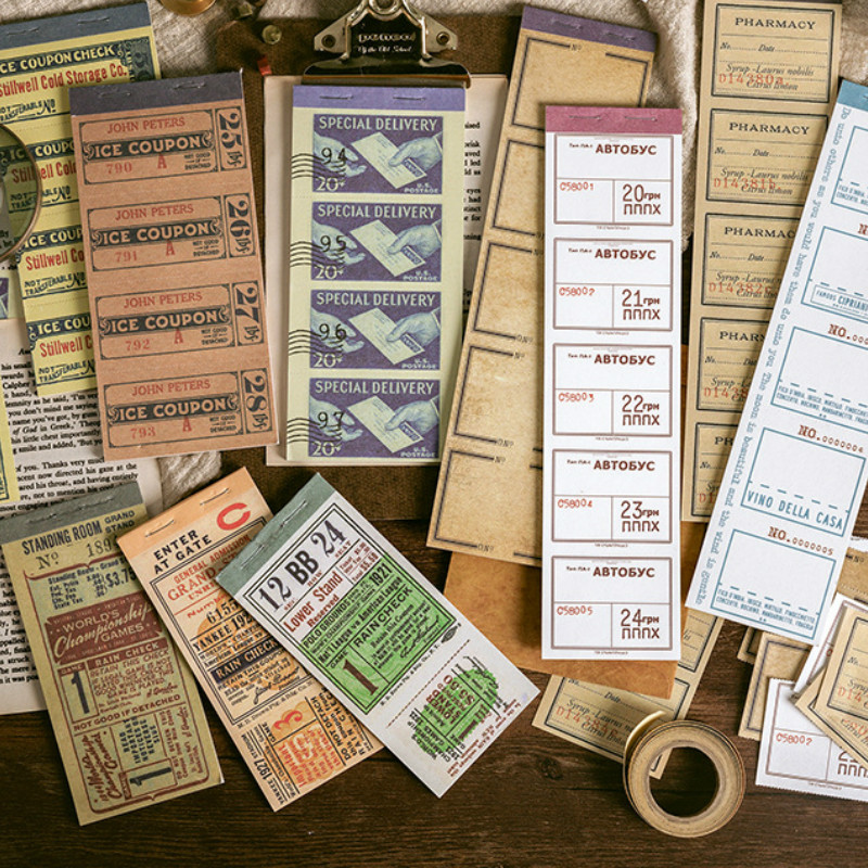 10 Designs Mixed Total 300 Shets Vintage Tickets Style Memo Pad DIY Bullet Journal Decoration Supplies Free Shipping