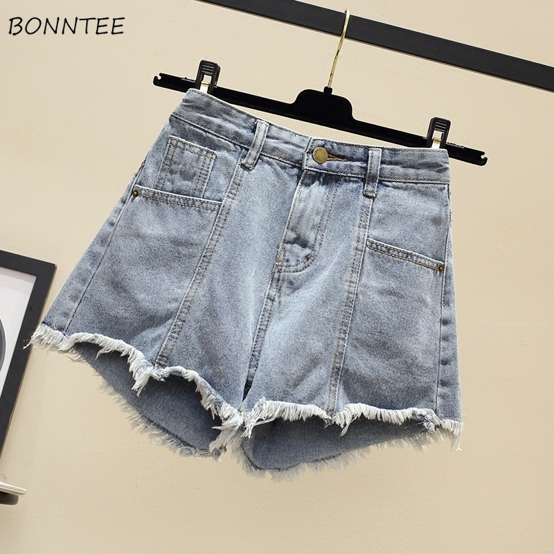 Shorts Women High Waist Denim Short Lady Summer Chic Korean Womens Loose Students Plus Size Tassel Edging Trendy Thin Breathable