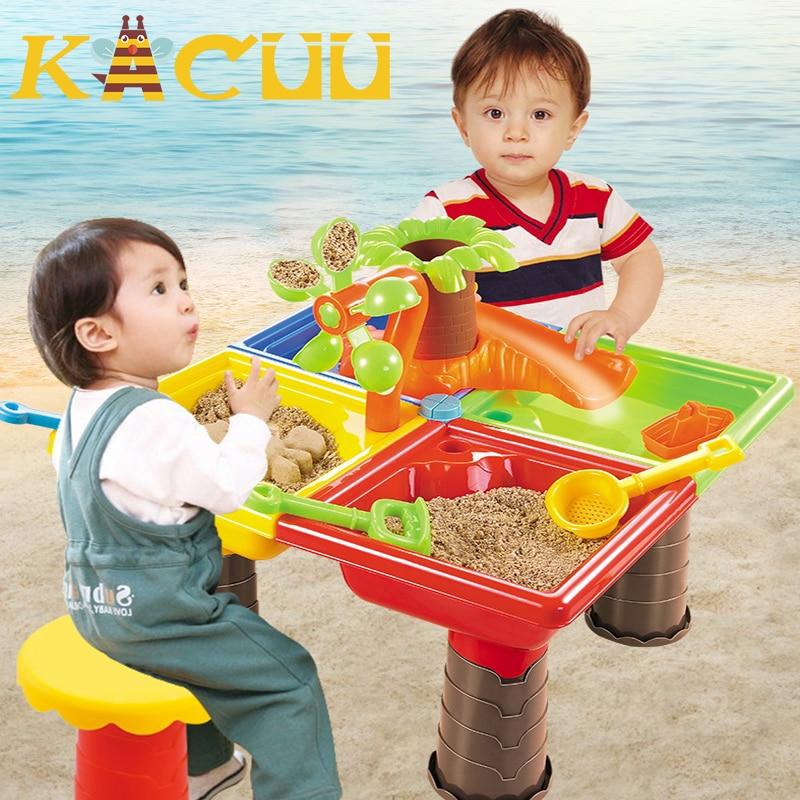 1Set Children Beach Water Table Sand Play Toys Set Baby Sandpit Dredging Tools Beach Table Play Sandbox For Children Kids Gift