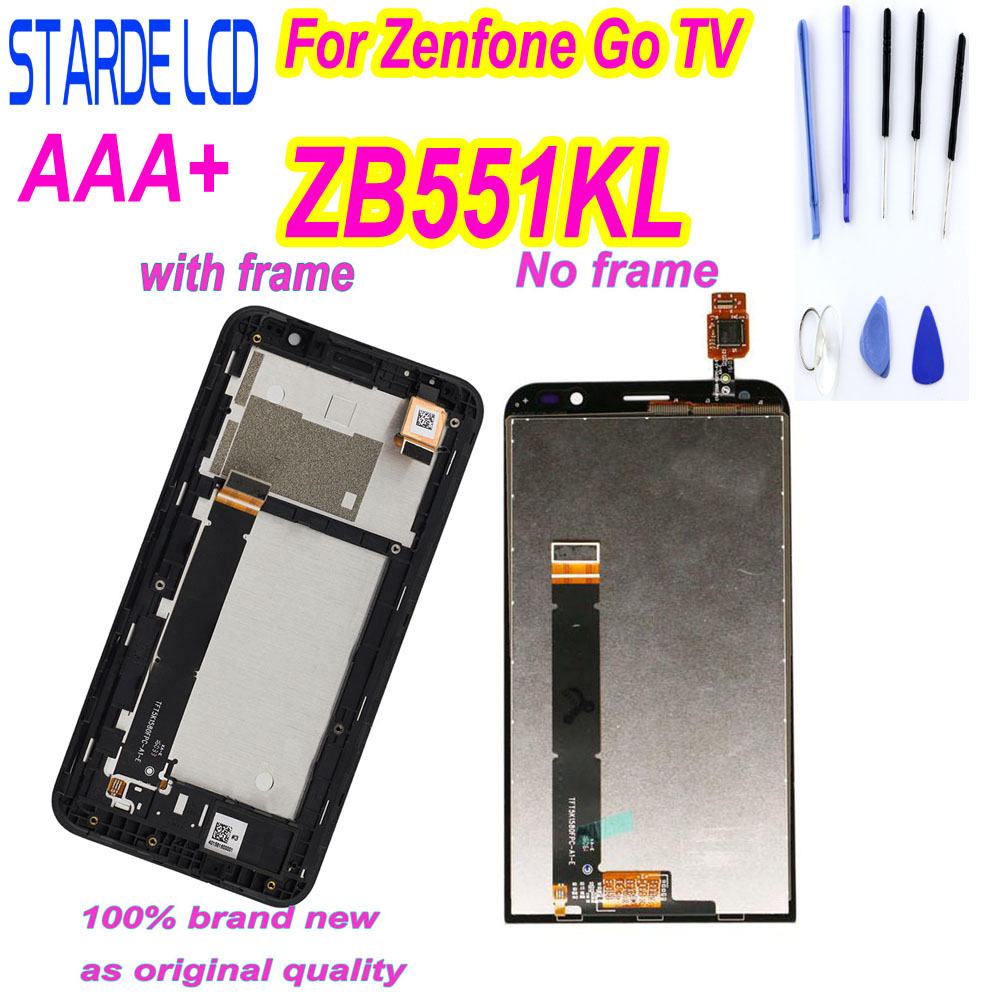 Original 5.5'' for <font><b>ASUS</b></font> Zenfone Go TV ZB551KL <font><b>X013D</b></font> X013DB LCD Display Touch Screen Digitizer Assembly Replacement with Frame image