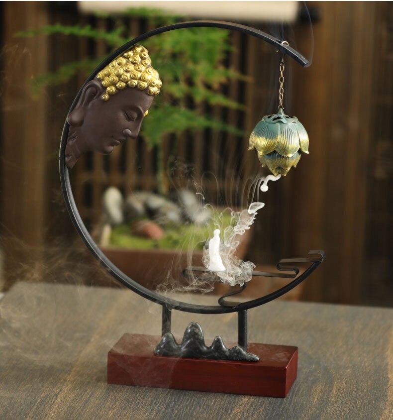 Ароматическая горелка для благовоний, керамическая статуя, благовония, водопад, декоративные буддистские принадлежности, декор дзен KK60XL