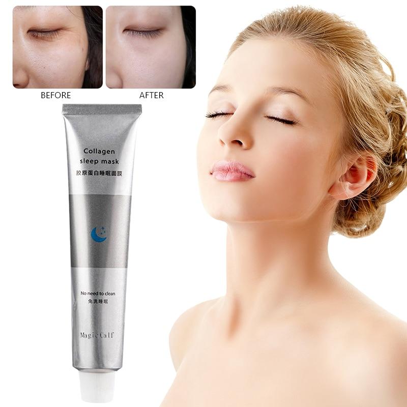 Korea Collagen Sleep Mask Night Hydrating Sleep Mask Wash Free Repair Oil-Control Acne Repair Shrink Pore Purify Skin TSLM1