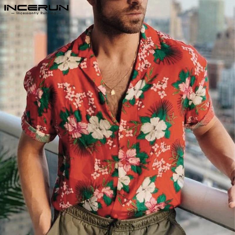 Summer Men Hawaiian Shirt Flower Printed Casual Streetwear 2020 Breathable Beach Blouse Short Sleeve Lapel Mens Shirts INCERUN