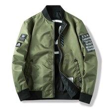 Men's Jackets Both Side Wear Coat Men Pilot With Patches Green Black blue Autumn