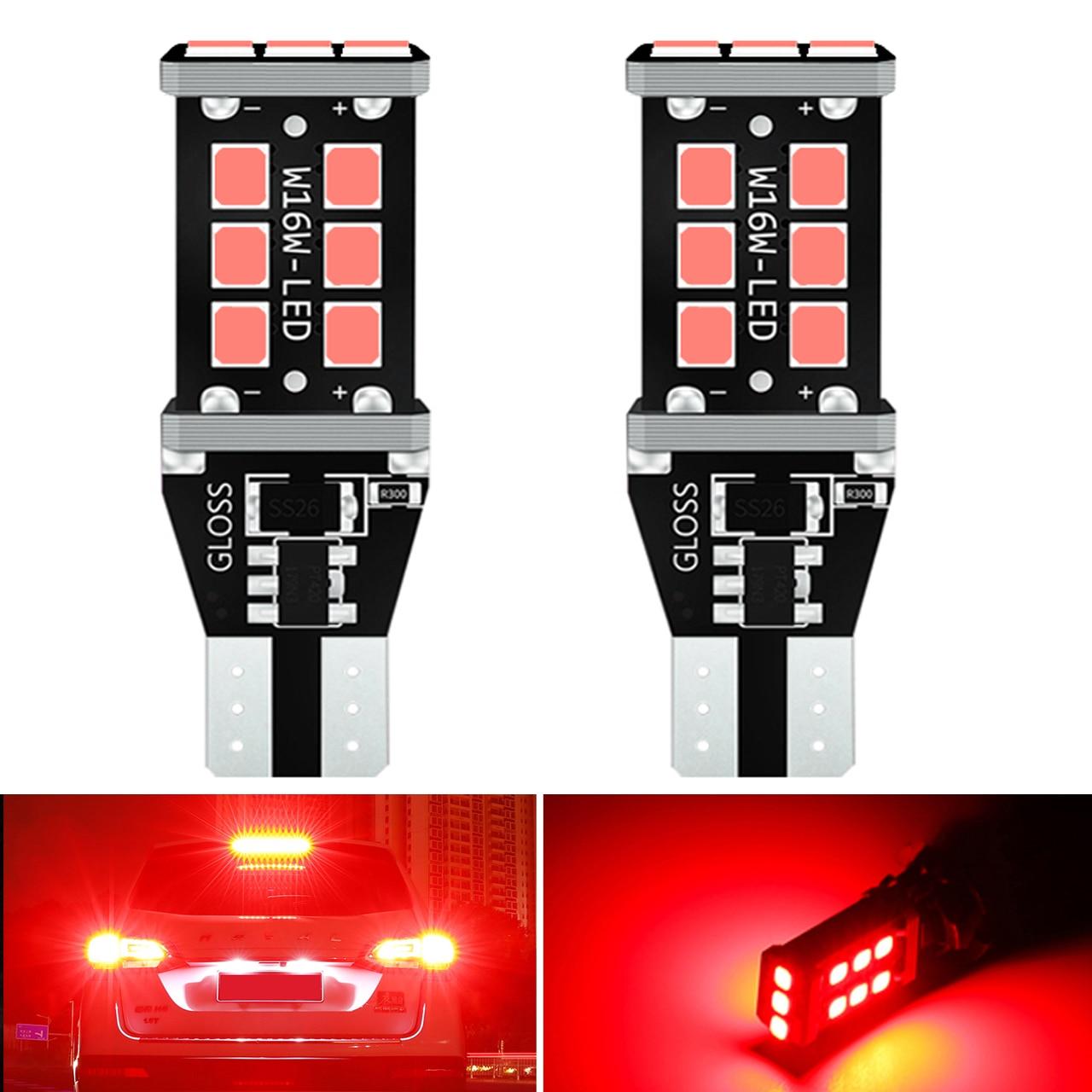 2x T15 W16W светодиодный стоп-сигнал, супер яркий 21SMD 2835 921 912 светодиодный Canbus без ошибок, резервный стоп-сигнал, стоп-сигнал, лампа, стоп-сигнал, к...
