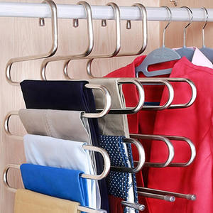 Hangers Storage-Rack Stainless-Steel Cloth-Holder Multilayer Pants Multifunctional S-Shape