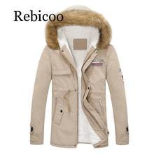 2019 winter mens jacket fur hat coat windbreaker S-4XL