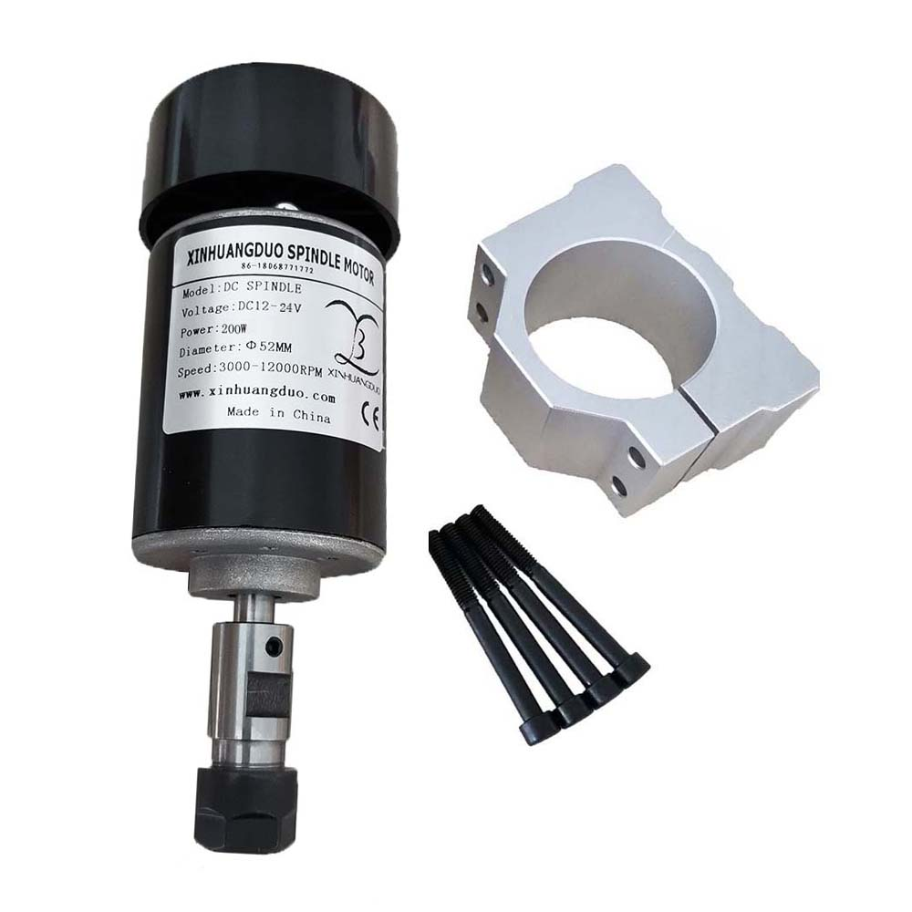 Air cooled <font><b>spindle</b></font> <font><b>200W</b></font> 24VDC 10000RPM Air cooled <font><b>spindle</b></font> Motor <font><b>CNC</b></font> <font><b>200W</b></font> <font><b>Spindle</b></font> Motor + Clamp for <font><b>CNC</b></font> DIY Machine image