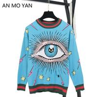 AN MO YAN High Quality Sweater 2019 New Round Neck Pullover Sweater Female Autumn And Winter Ball Letter Eye Pattern Sweater